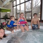 Although we didn't let them in the hot tub, they loved sitting on the edge, a cold day treat!