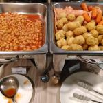 Baked Beans, Sausages, Hams and Fried Fish Balls