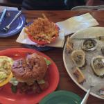 Oysters, fries, and the famous grouper sandwich