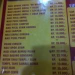 Daftar menu di warung bu Rudy
