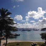 View from the balcony out to the Great Harbor on Jost Van Dyke.  The main street is soft white s