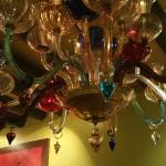 Eclectic glass lighting fixture.
