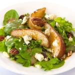Tossed Mixed Greens with Candied Pecans, Red Pears, Gorgonzola Maple Balsamic Vinaigrette