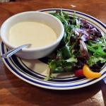 Seafood Bisque and house salad with raspberry vinagrette