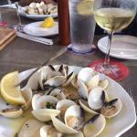 Clams steamed in wine