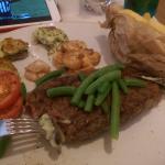 steak, prawns, mushroom