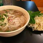 Pho Bo Dac Biet (Pho Special) with fresh sides