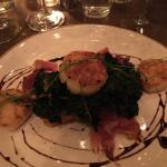 Scallops served over a sweet potato tart - delicious!