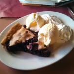 Warm blueberry pie with cream and ice cream!!!!!!