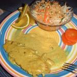 My half ate chicken curry with papaya salad and honey-glazed carrots