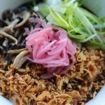 Mushroom Rice Pudding + Crispy Shallots + Pickled Onions