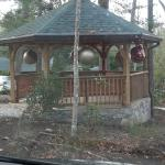 Gazebo with Christmas decorations.