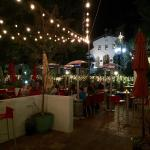 Luna Red's lovely outdoor eating area looks towards the Old Mission