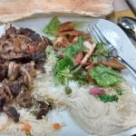 Beef Shawarma, hummus and fatoosh (salad).