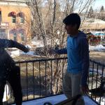Snow fight on the balcony of the Pittman Suite.