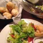 House salad and hot rolls served with dinner