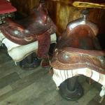 They still have real saddles for bar seats in the bar.