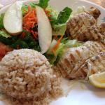 Grilled Mahi Mahi with lemon pepper, brown rice and a salad