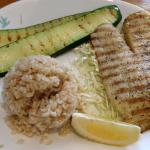 Grilled Tilapia with lemon pepper, brown rice and grilled zucchini