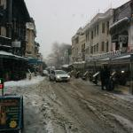 the main street to the hotel, in a snowy day.