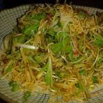 Japanese salad with bonito flakes