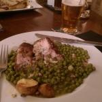 Chicken on a bed of tinned processed peas? £15? !!