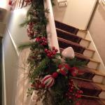 Garland on stairs.
