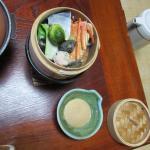 夕食、蟹の蒸籠蒸
