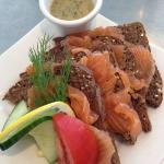 Dill cured salmon on toast