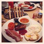 """Our first taste of a """"English"""" breakfast...PS-the black pudding isn't for the faint of heart...."""