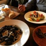 Mussels in White wins sauce and Pan fried sea bass