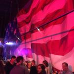American flag is painted from floor to ceiling in main barroom.