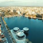 Vista aérea, com o Museu dos Tres Pandeiros: Obra arquitetônica de Oscar Niemeier