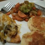 Anniversary Chicken with potato cakes and mixed vegetables