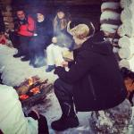 Snow shoe walk lunch by the fire