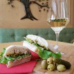 Sandwiches and wine