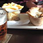 Lamb pie, chips and ale!