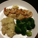 Grouper w/extra sahrimp and mashed potatoes