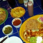 yellow plate- burrito muchacha / green plate - the chimichanga (i think) / homemade nachos and s