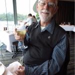 Mike Reddy enjoying a glass of French Chardonnay