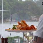 A seafood feast enjoyed by nearby diners