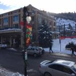 view of The Caledonian on Main St with adjacent Town Lift (chair lift)
