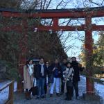 Shinkyo Bridge entrance with family