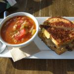 Delicious chicken gumbo soup & toasted roast beef sandwich