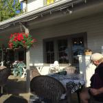 Experior view of the patio, enjoying the summer sunshine! Springwater Lodge  |  400 Fernhill Rd,