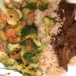quarter portion lamb tagine, beef tagine with added brocolli and rice