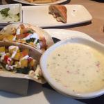 Fish tacos with chowder soup - very good!