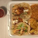 Fish Taco, Shrimp Tacos and rice & beans.