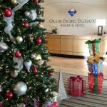 Lobby decorated for the holidays!