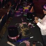 Complimentary hats and noise makers for family party in ball room!